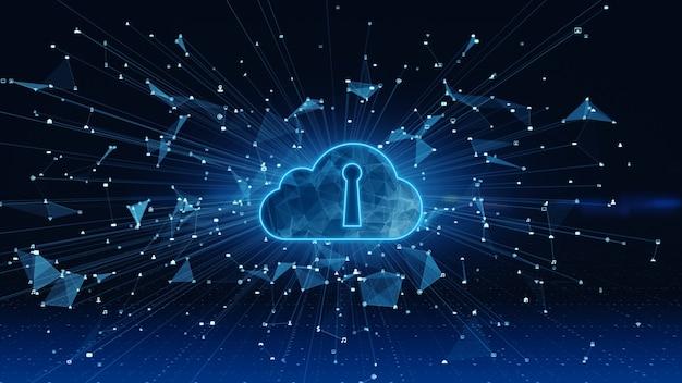 Conexões de rede de dados digitais cloud computing e comunicação global. análise de dados de conexão de alta velocidade 5g.