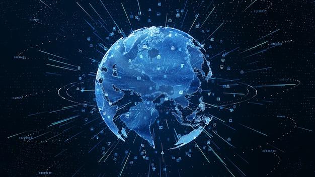 Conexões de rede de dados digitais com ícone de comunicação global.