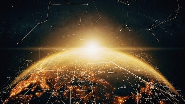 Conexões de rede globais no mundo