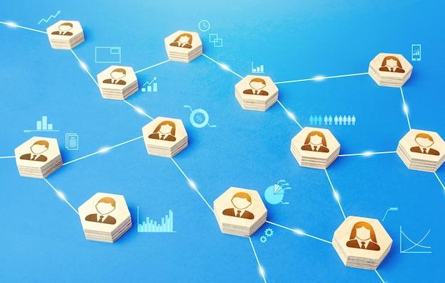 Conexões entre pessoas. meritocracia e autonomia. coordenação de comunicação