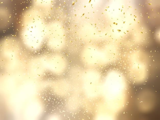 Confete de ouro no fundo de luzes de bokeh