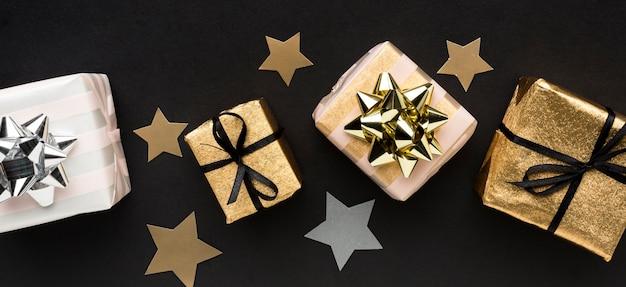 Confetes de estrelas com presentes