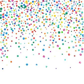 Confetes em aquarela sobre fundo branco. pontos coloridos do arco-íris admiráveis. feliz celebração quadrado colorido cartão brilhante. confetes pintados à mão dramáticos.