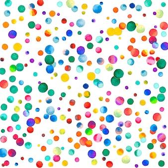 Confetes em aquarela sobre fundo branco. pontos coloridos do arco-íris admiráveis. feliz celebração quadrado colorido cartão brilhante. confetes pintados à mão impecáveis.