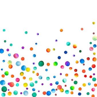 Confetes em aquarela sobre fundo branco. pontos coloridos do arco-íris admiráveis. feliz celebração quadrado colorido cartão brilhante. fantástico confete pintado à mão.