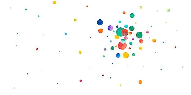 Confetes em aquarela sobre fundo branco. pontos coloridos do arco-íris adorável. cartão brilhante colorido grande celebração feliz. incríveis confetes pintados à mão.