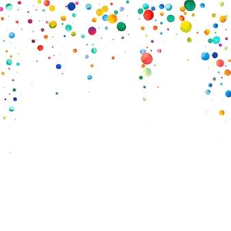 Confetes em aquarela sobre fundo branco. pontos coloridos do arco-íris real. feliz celebração quadrado colorido cartão brilhante. grande confete pintado à mão.