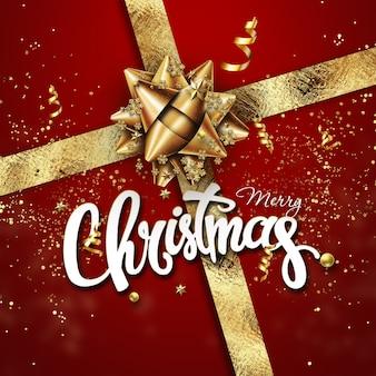 Confetes festivos, estrelas e fitas em espiral sobre fundo vermelho