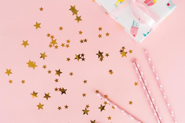 Confetes metálicos estrela vista superior