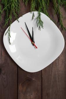 Configuração de decoração de utensílios de mesa de Natal, fundo festivo de Natal