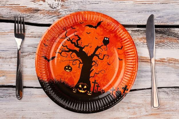 Configuração de mesa de halloween.