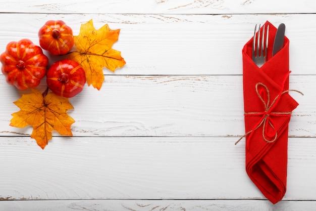 Configuração de mesa de outono