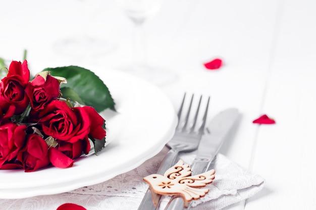 Configuração de mesa romântica