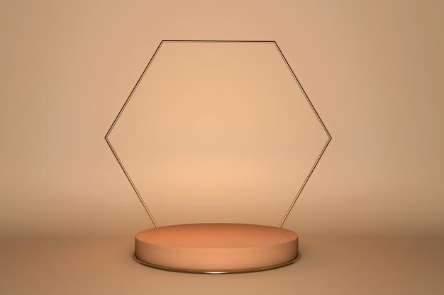 Configuração de produto 3d pódio geometria minimalista abstrata bege, interior de formas geométricas mínimas