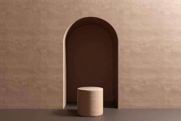 Configuração de produto, geometria minimalista abstrata bege do pódio, interior de formas geométricas mínimas, colocação de objetos, sala de fundo abstrato, renderização em 3d