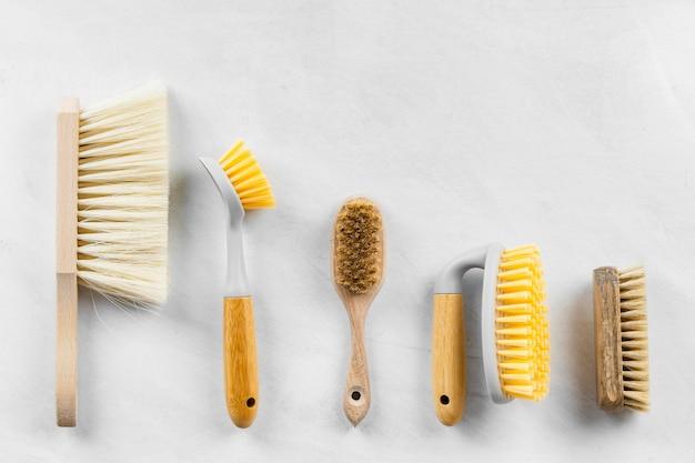 Configuração plana das escovas de limpeza