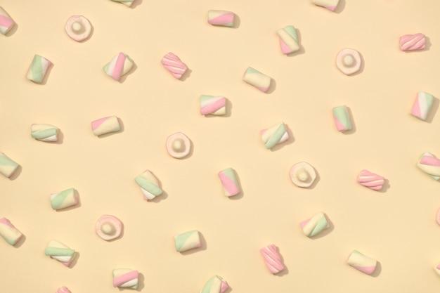 Configuração plana de marshmallows