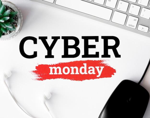 Configuração plana do teclado e planta com mouse para cyber segunda-feira