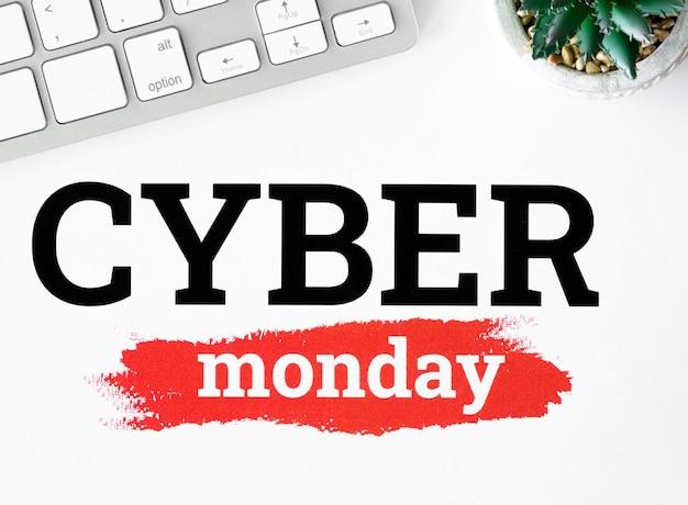 Configuração plana do teclado e planta para cyber segunda-feira