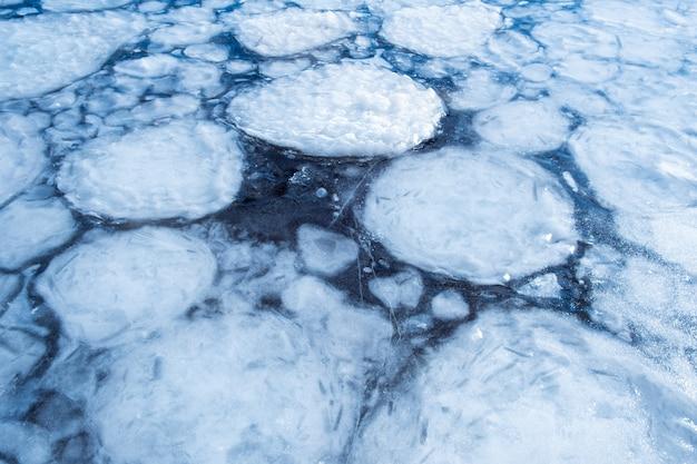 Congele a textura em uma água do lago no inverno ao ar livre. fundo abstrato gelo