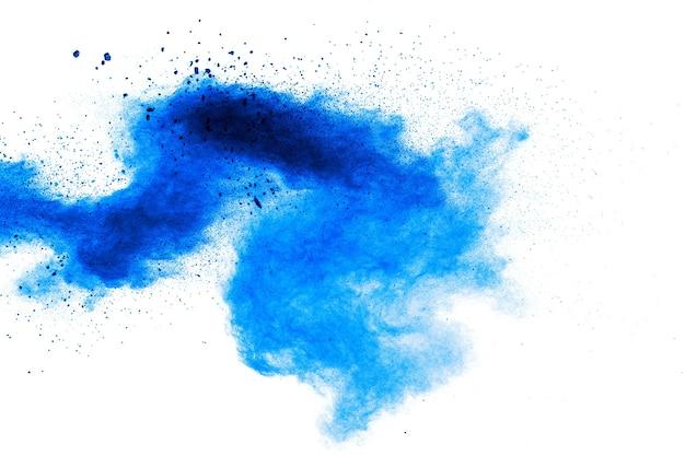 Congele o movimento de respingos de pó azul.