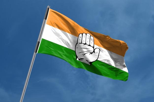 Congresso nacional indiano, bandeira, símbolo, waving, índia