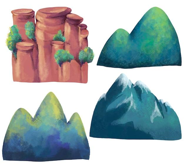 Conjunto aquarela de diferentes tipos de montanhas