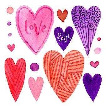 Conjunto colorido de corações de dia dos namorados. elementos brilhantes