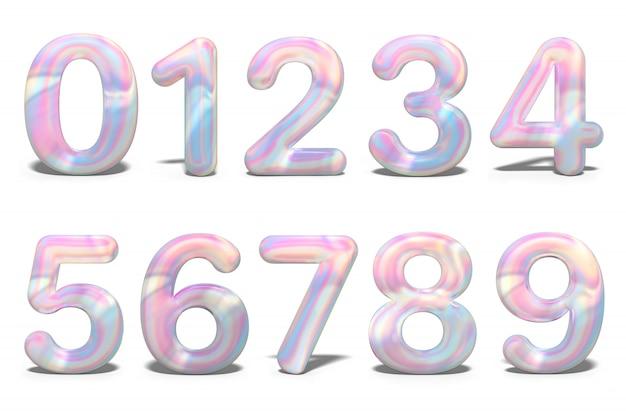 Conjunto com números coloridos 3d holográfico, isolado
