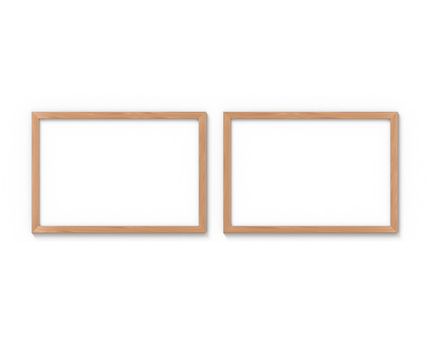 Conjunto de 2 molduras de madeira horizontais penduradas na parede. renderização em 3d.