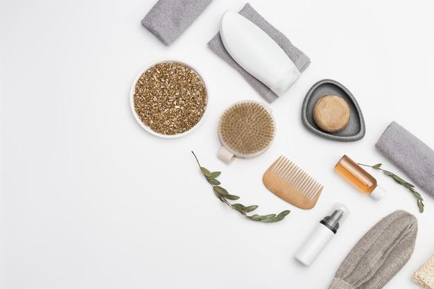 Conjunto de acessórios de banho de material natural zero desperdício para banheiro
