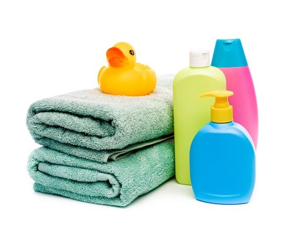 Conjunto de acessórios de banho para bebês, incluindo pato de borracha amarelo