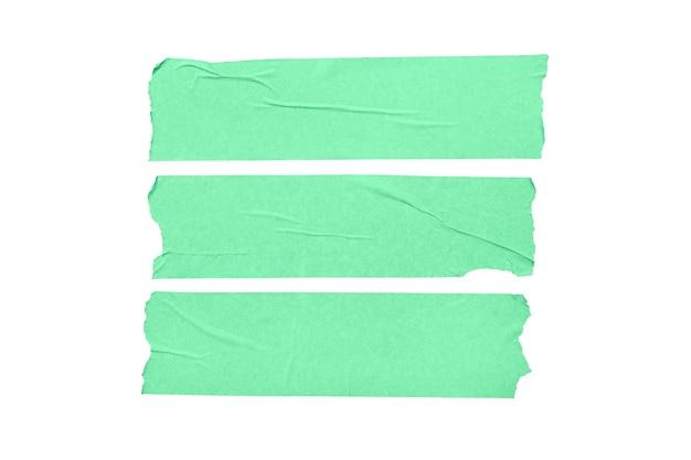 Conjunto de adesivos de fita em branco verdes isolado no fundo branco.