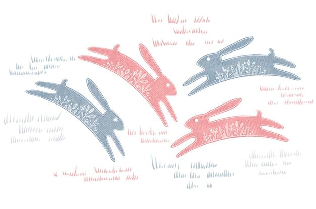 Conjunto de aquarela com ilustração de grama de coelho da páscoa isolada no fundo branco.