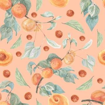 Conjunto de aquarela de frutas e damascos padrão sem emenda desenhado à mão