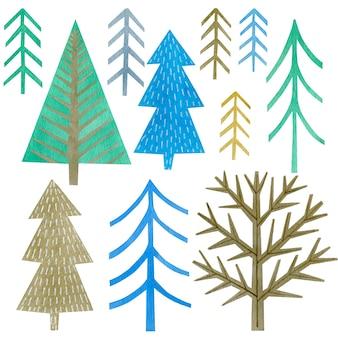 Conjunto de aquarela de pinheiros ano novo feliz feriado