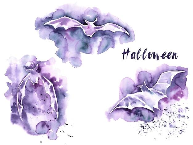 Conjunto de aquarela roxa de morcego de halloween