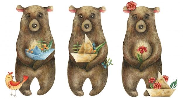 Conjunto de aquarela ursos marrons bonitos, segurando um barquinho de papel com um ramo de frutas, flores e folhas e com um pássaro