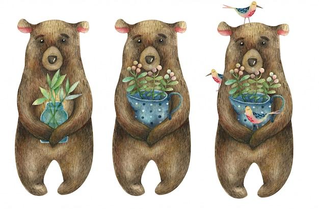 Conjunto de aquarela ursos marrons bonitos, segurando um frasco azul com bolinhas com galhos e bagas