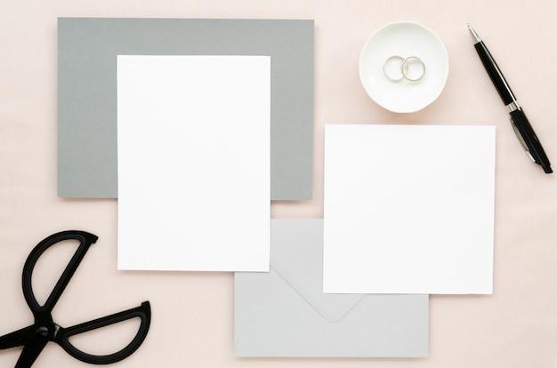 Conjunto de artigos de papelaria de casamento minimalista