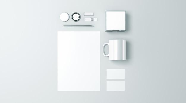 Conjunto de artigos de papelaria de escritório em branco branco