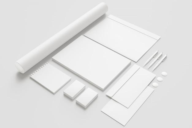 Conjunto de artigos de papelaria em branco.