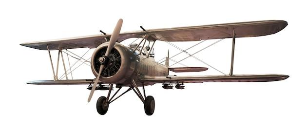 Conjunto de avião antigo de aço isolado no fundo branco