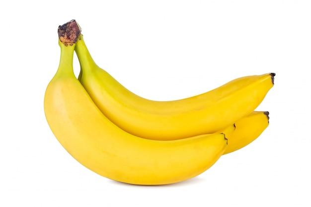 Conjunto de banana isolado no fundo branco, fruta fresca.
