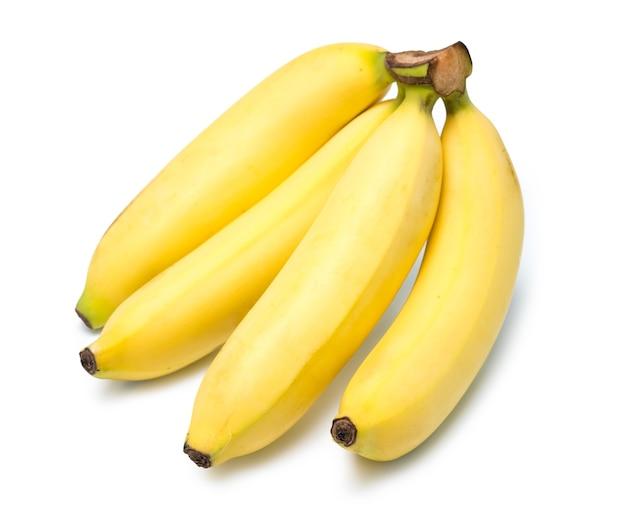Conjunto de bananas inteiras e fatias isoladas em branco cacho de bananas isoladas em branco