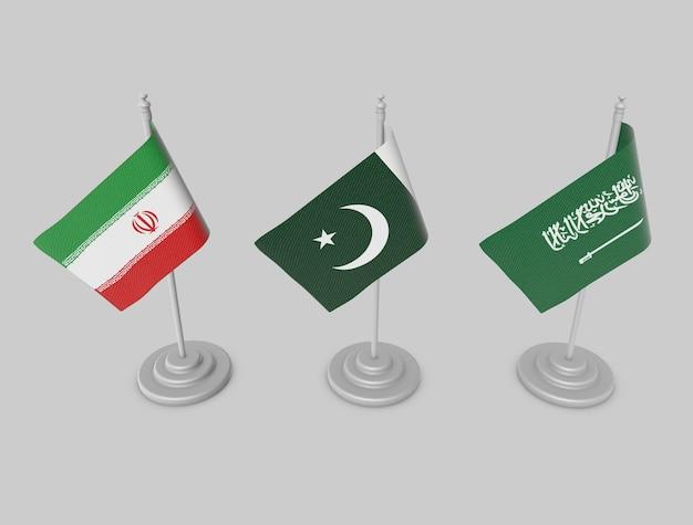 Conjunto de bandeira - paksitan, irã, ksa