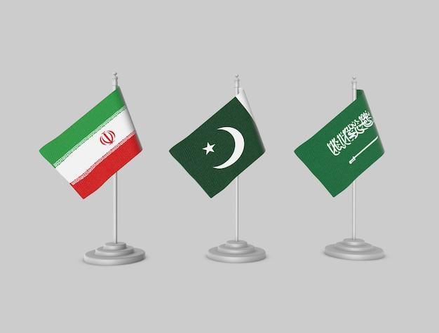 Conjunto de bandeiras - paquistão, irã, ksa