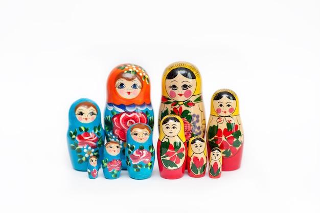 Conjunto de bonecas russas de madeira de 10 peças