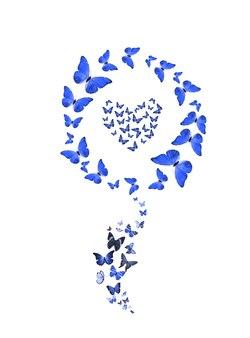 Conjunto de borboletas voando em forma de uma flor isolada no fundo branco. insetos tropicais. mariposas coloridas para design. coração azul. foto de alta qualidade