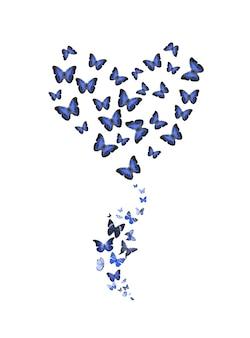Conjunto de borboletas voando em forma de uma flor isolada no fundo branco. insetos tropicais. mariposas coloridas para design. foto de alta qualidade
